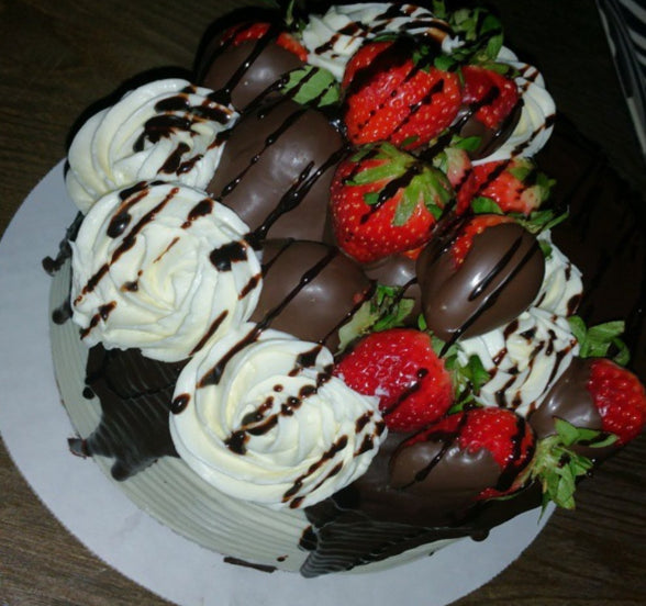 Red Velvet Cake w/ Chocolate Dipped Strawberries