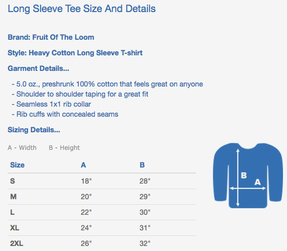 bartending long sleeve shirt sizing chart