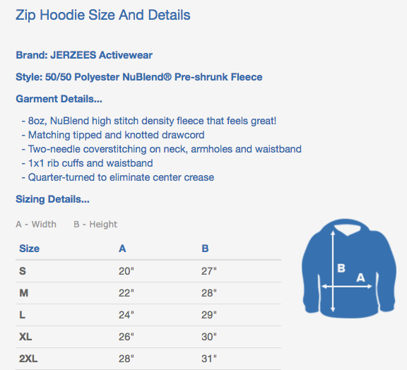 bartending zipper hoodies sizing chart
