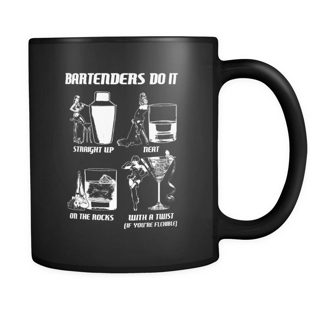 Bartenders Do It Like This Black Coffee Mug