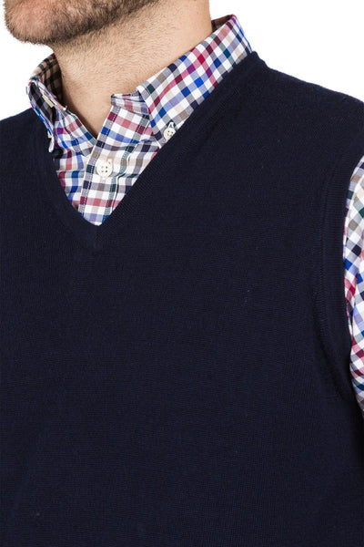 Blazer Martin Merino Vest Pullover-Navy - Harry's for Menswear
