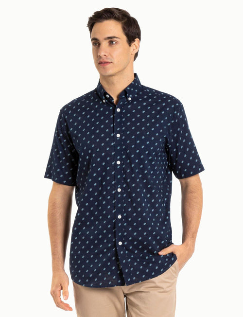 Blazer Navy Hayden S/S Cotton Printed Shirt