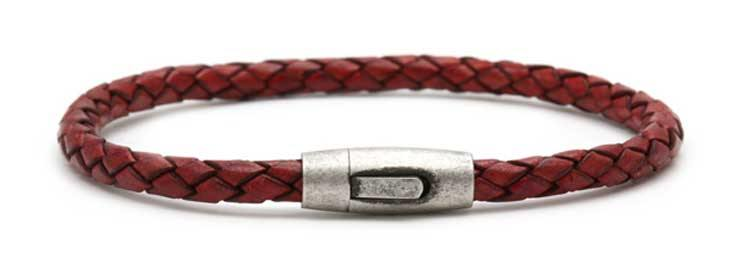 Mens Red Plaited Leather Bracelet Antique 630-65