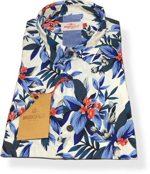 Brooksfield Hawaiian Print  BFS933-Blue