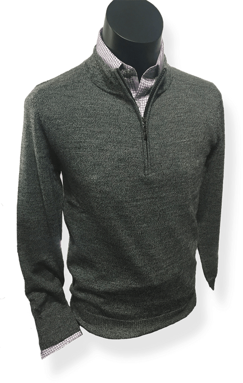 Berlin 100% Fine Wool Zip CollarPullover MW36 - Harry's for Menswear