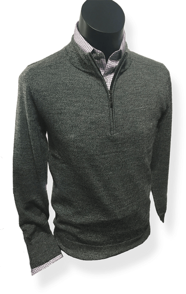 Berlin 100% Fine Wool Zip CollarPullover MW36