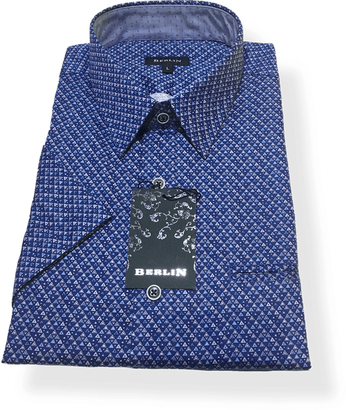 Berlin S/S Shirt S350-Blue - Harry's for Menswear