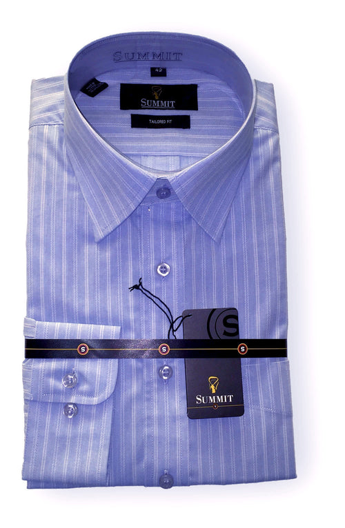 Summit Blue Self Stripe Business Shirt L/S - Harry's for Menswear