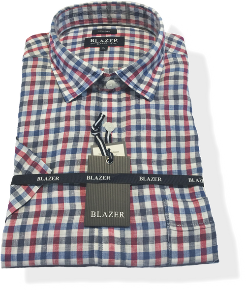 Blazer Silas S/S Linen Check - Harry's for Menswear