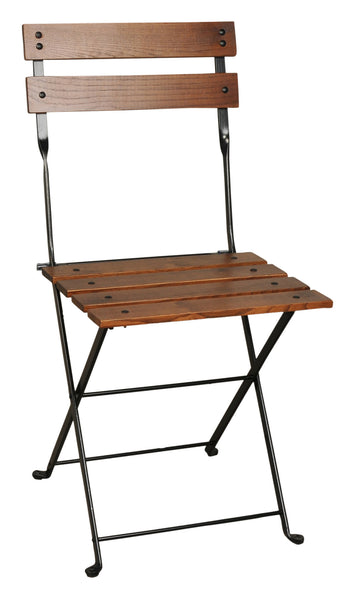 French Café Bistro Folding Side Chair with Chestnut Wood Slats from EventsUber.com (set of 2)