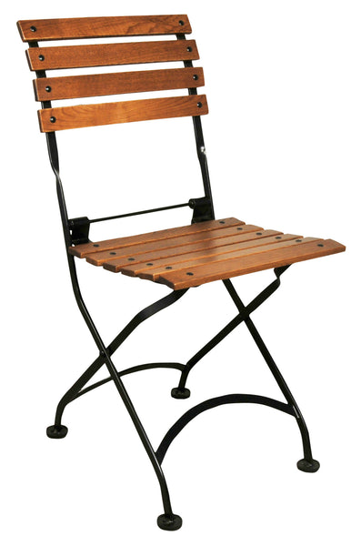 French Bistro Chair folding with Walnut Stain Wood Slats from EventsUber.com (set of 2)