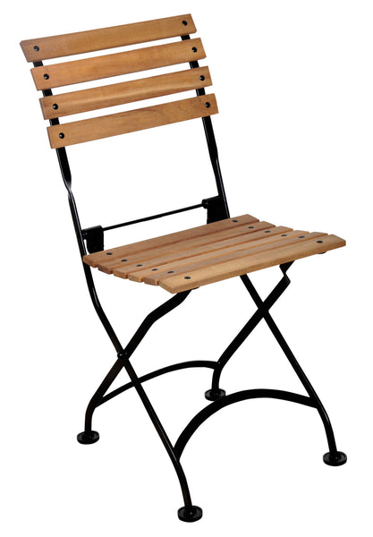 French Bistro Chair folding with Teak Wood Slats from EventsUber.com (set of 2)
