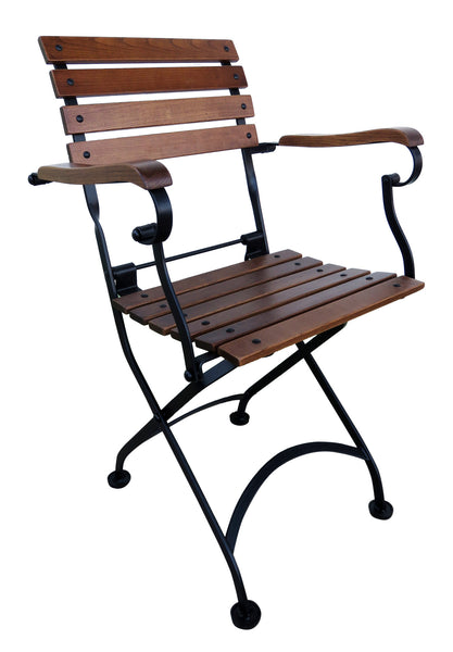 French Bistro Folding Café Armchair European Chestnut Wood Slats (set of 2)