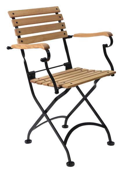 French Bistro Folding Café Armchair with Teak Wood Slats (set of 2)
