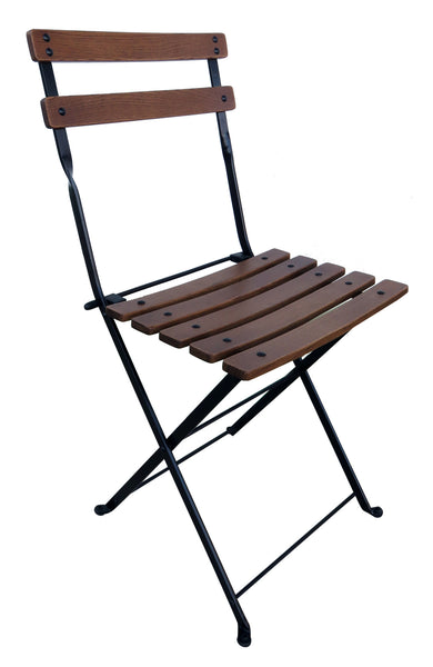 Café Bistro French Folding Side Chair w/Walnut Stain Slats from EventsUber.com (set of 2)
