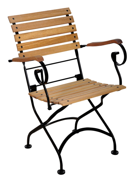 Café Bistro French Folding Armchair with Teak Slats from EventsUber.com (set of 2)