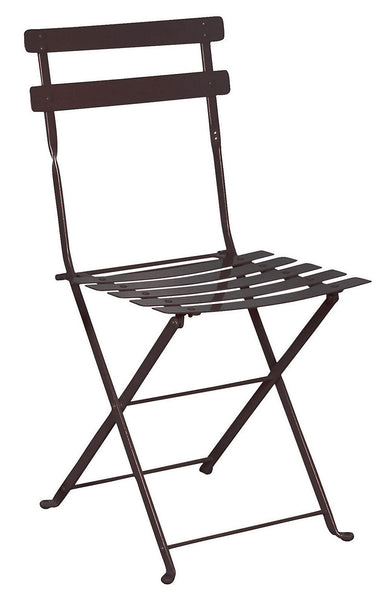 Café Bistro French Folding Meta Chair with Metal Slats from EventsUber.com (set of 2)