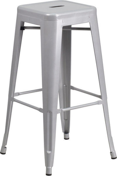 Tolix 30'' High Backless Metal Indoor-Outdoor Industrial Barstool w/Square Seat
