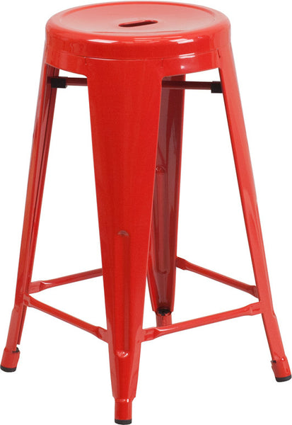 Tolix 24'' Counter Height Industrial Stool Backless Metal Indoor-Outdoor w/Round Seat