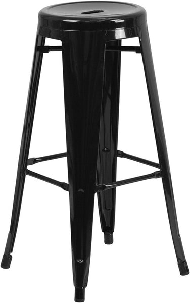 Tolix 30'' High Backless Metal Indoor-Outdoor Industrial Barstool w/Round Seat