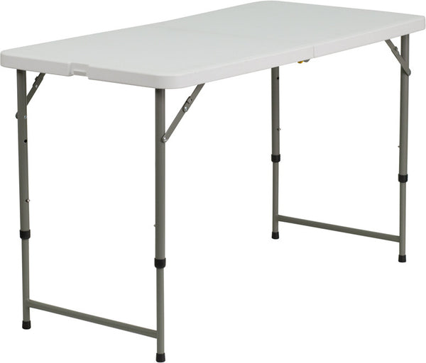 24''W x 48''L Height Adjustable Granite Plastic Folding Table