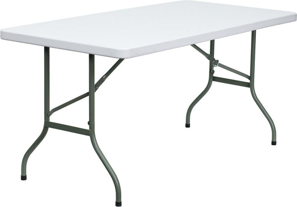 30''W x 60''L Granite Plastic Folding Table Professional Grade