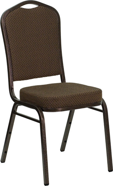 Crown Back Stacking Banquet Chair w/Patterned Fabric and 2.5'' Thick Seat - Copper Vein Frame