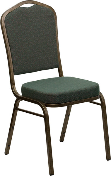 Crown Back Stacking Banquet Chair w/Patterned Fabric and 2.5'' Thick Seat -  Vein Frame
