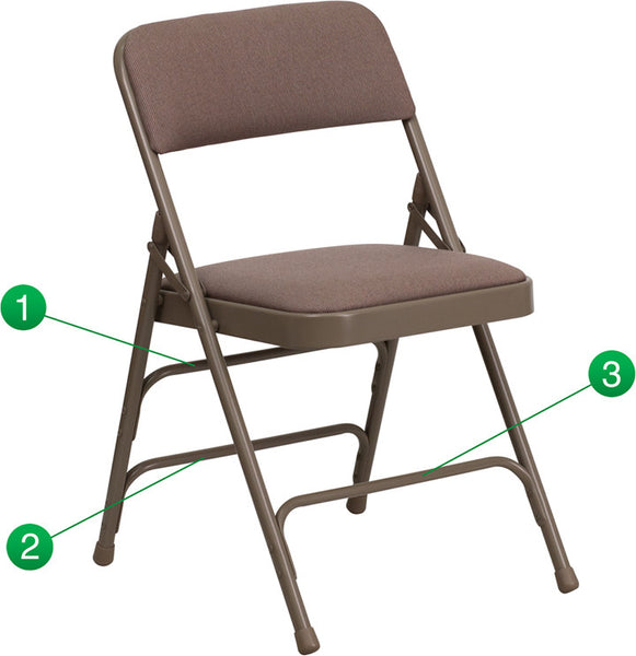 Curved Triple Braced & Double Hinged Fabric Upholstered Metal Folding Chair