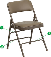 Curved Triple Braced & Double Hinged Vinyl Upholstered Metal Folding Chair