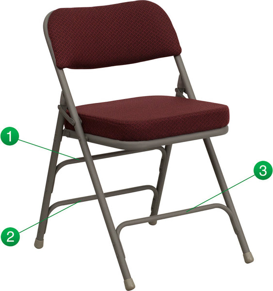 Premium Metal Folding Chair Curved Triple Braced & Double Hinged Fabric Upholstered