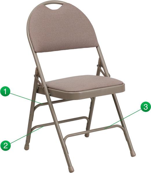 Extra Large Ultra-Premium Triple Braced  Fabric Metal Folding Chair w/Easy-Carry Handle