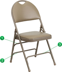 Extra Large Ultra-Premium Triple Braced Vinyl Metal Folding Chair w/Easy-Carry Handle