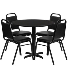 36'' Round Laminate Table Set w/4 Trapezoidal Back Banquet Chairs
