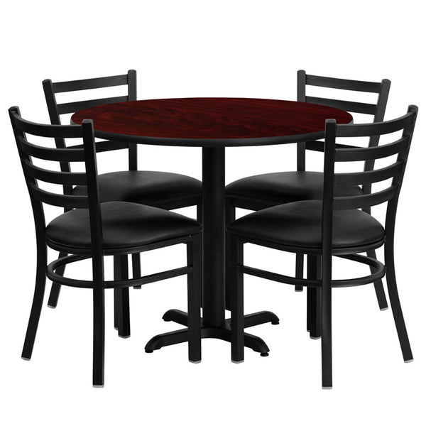 36'' Round Laminate Table Set w/4 Ladder Back Metal Chairs -  Vinyl Seat