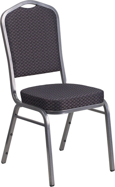 Crown Back Stacking Banquet Chair w/Patterned Fabric and 2.5'' Thick Seat - Silver Vein Frame