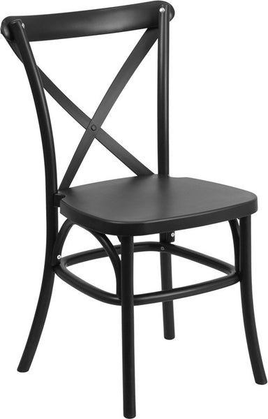 Black Resin Cross Back Chair Indoor-Outdoor w/Steel Inner Leg