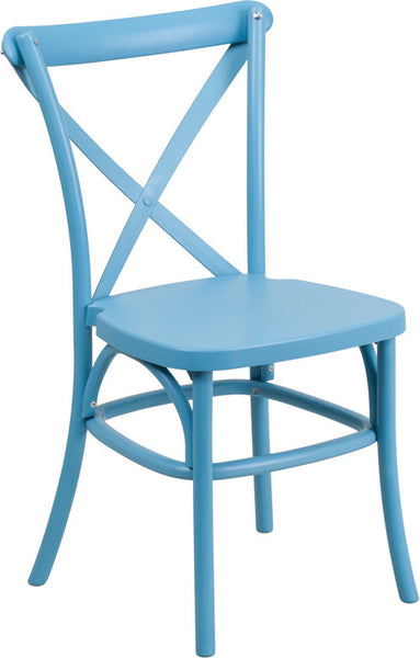 Blue Resin Cross Back Chair Indoor-Outdoor w/Steel Inner Leg