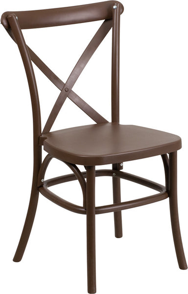 Chocolate Resin Cross Back Chair Indoor-Outdoor w/Steel Inner Leg