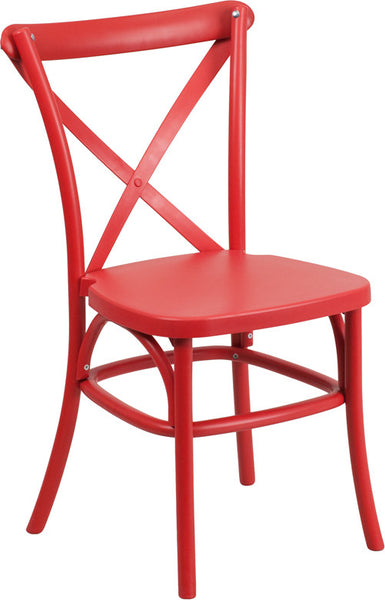 Red Resin Cross Back Chair Indoor-Outdoor w/Steel Inner Leg