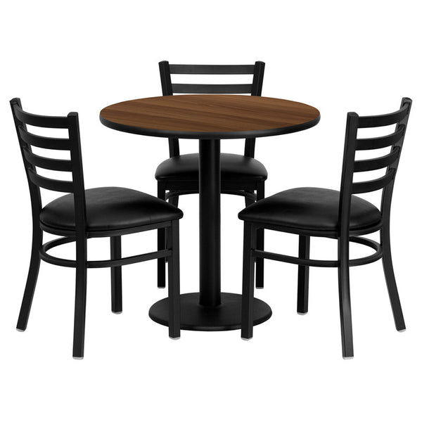 30'' Round Laminate Table Set w/3 Ladder Back Metal Chairs -  Vinyl Seat