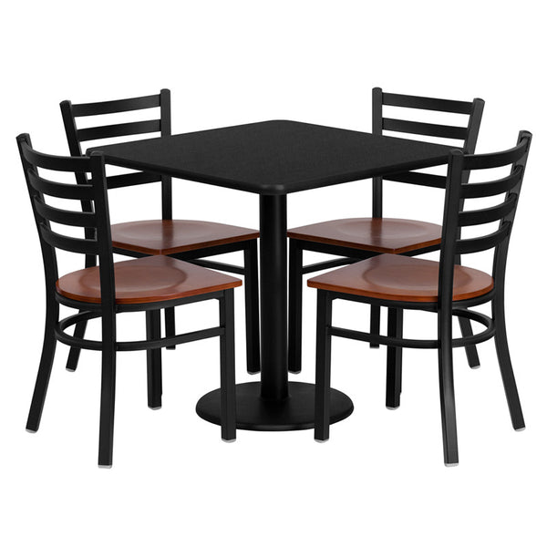 30'' Square Laminate Table Set w/4 Ladder Back Metal Chairs