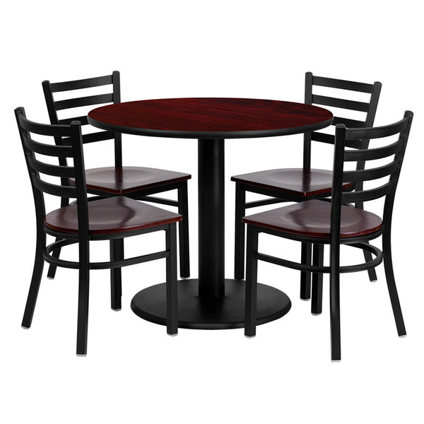 36'' Round Mahogany Laminate Table Set w/4 Ladder Back Metal Chairs