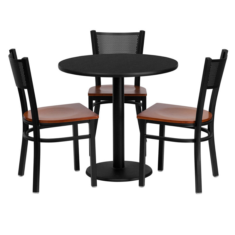 Buy 30 39 39 round laminate table set w 3 ladder back metal for Buy round table