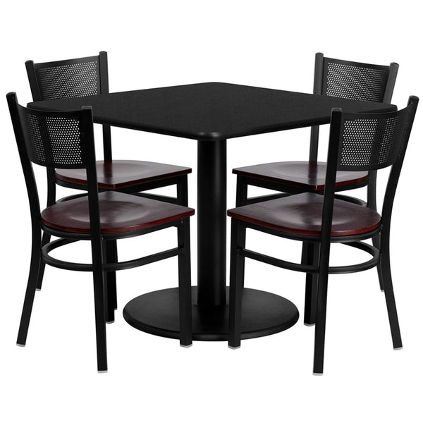 36'' Square Laminate Table Set w/4 Grid Back Metal Chairs