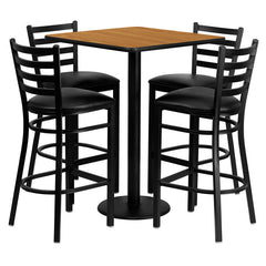 30'' Square Natural Laminate Table Set w/4 Ladder Back Metal Barstools -  Vinyl Seat