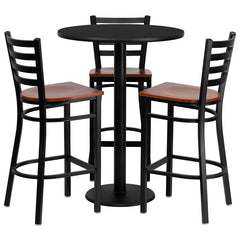 30'' Round Laminate Table Set w/3 Ladder Back Metal Barstools - Cherry Wood Seat