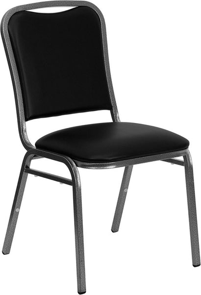Square Back Stacking Banquet Chair w/Vinyl and 1.5'' Thick Seat - Silver Vein Frame