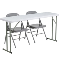 18'' x 60'' Plastic Folding Training Table w/2  Metal Folding Chairs