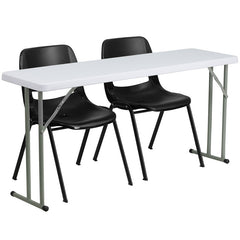 18'' x 60'' Plastic Folding Training Table w/2  Plastic Stack Chairs